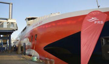 """Der Katamaran """"Skane Jet"""" transportiert 676 Passagiere und 210 Autos pro Törn"""